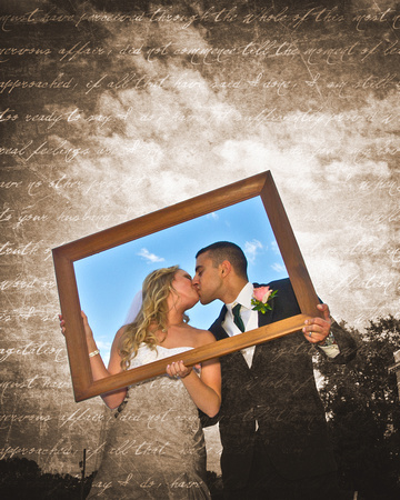 Bride and Groom holding Frame