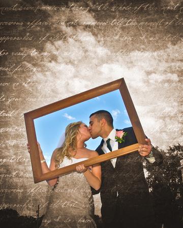 Bride and Groom holding Frame